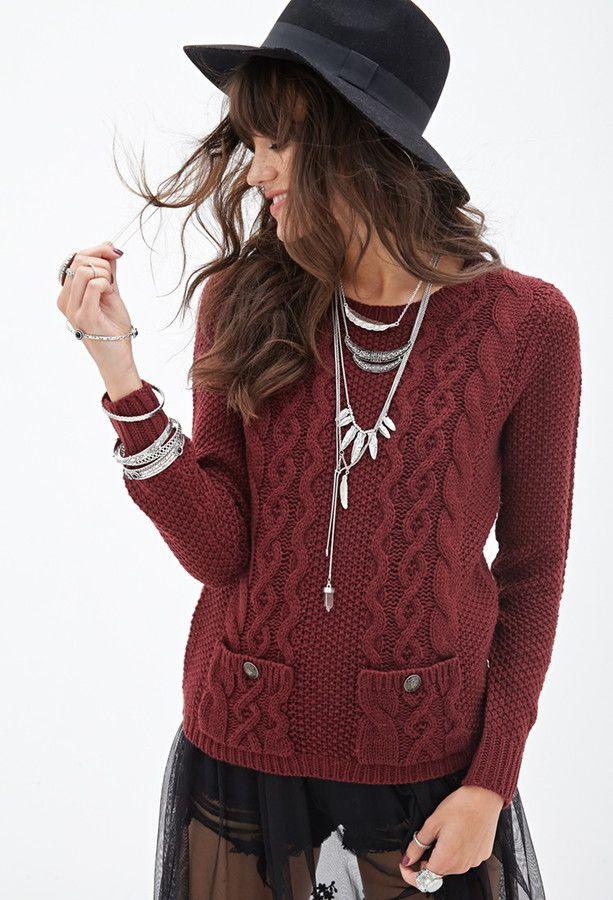 Forever 21 Cable Knit Pocket Sweater   .Вязание  СВИТЕРА, КОФТЫ ... b0e5f6bd1b03