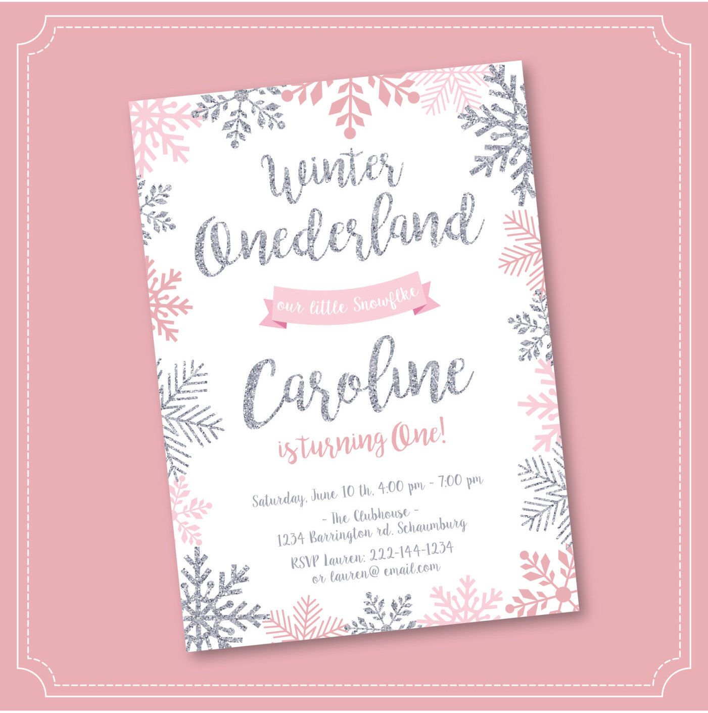 20% OFF SALE Winter Onederland Invitation, Pink and Silver, Birthday ...