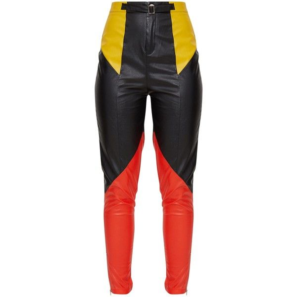 40da7e0845f53 Black Faux Leather Belted Motocross Trousers (52 CAD) ❤ liked on Polyvore  featuring pants, faux leather trousers, vegan leather pants, faux-leather  pants, ...