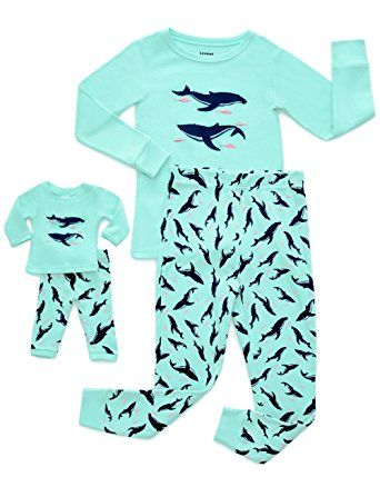 ff6fcfb3f Leveret Girls Matching Doll   Kid Fish 2 Piece Pajamas.