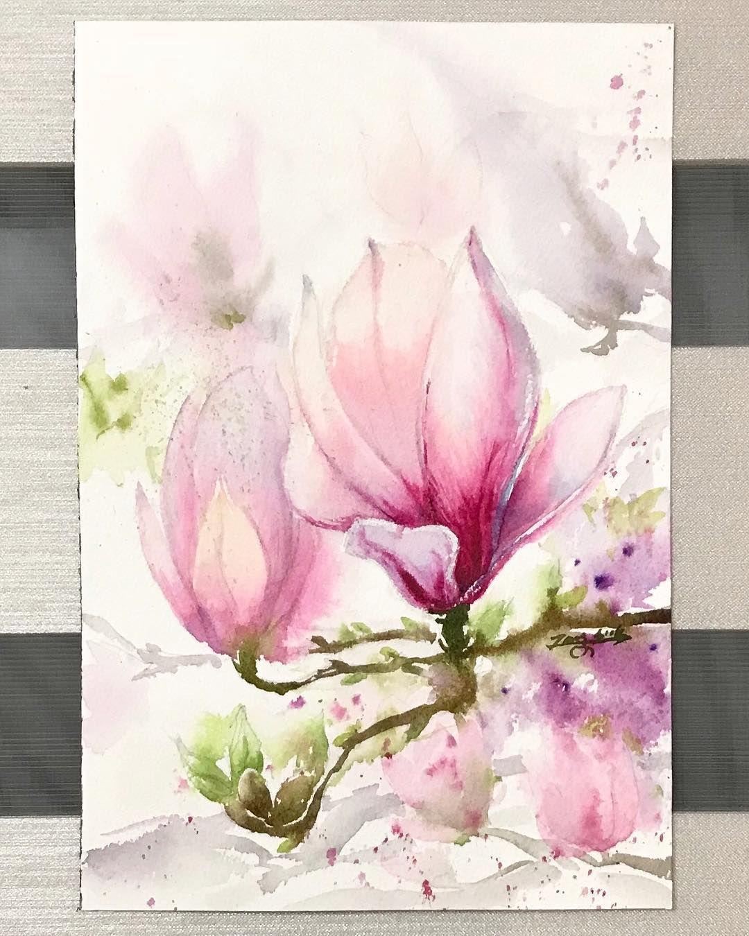 Another magnolia #magnolia #watercolor #watercolour #watercolours ...