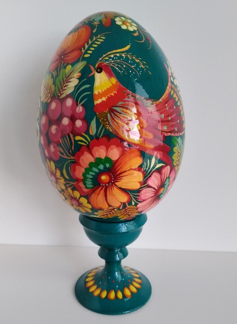 Ukrainian folk art Easter egg Pysanka Petrykivka Colourful wooden egg