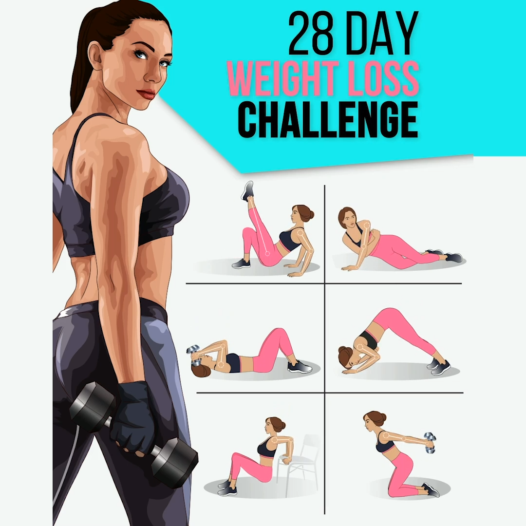 28 Day Weight Loss Challenge to Have Perfect Body #fitnesschallenges