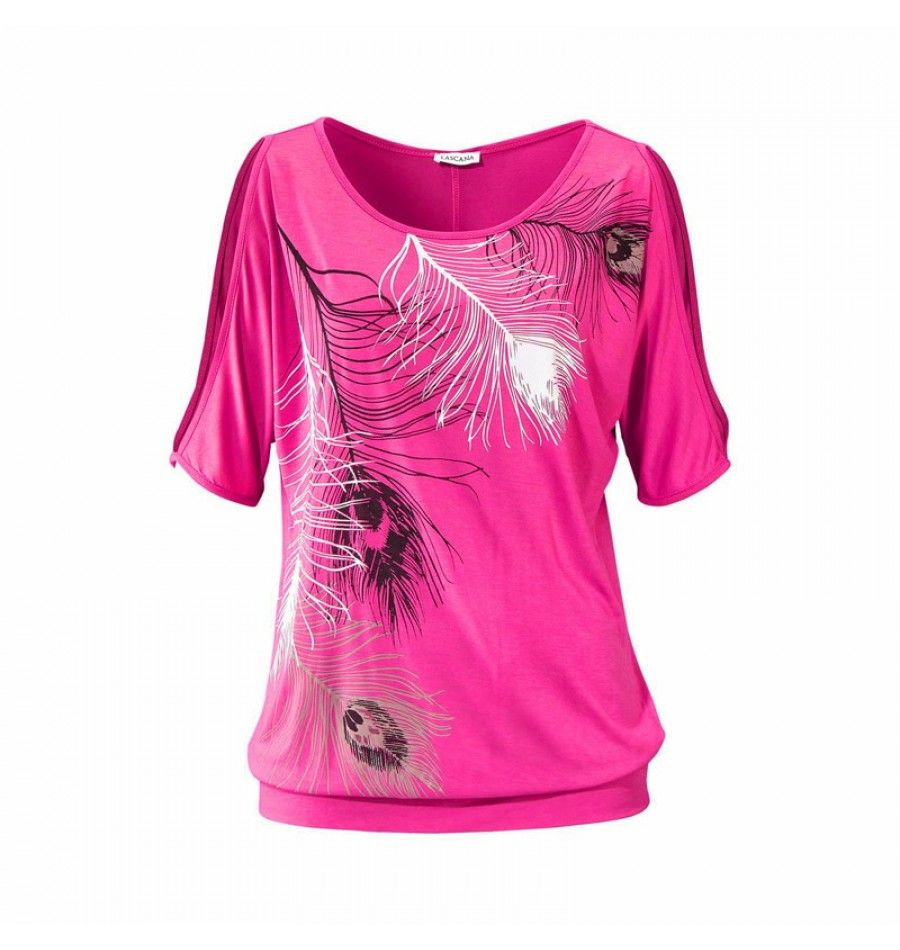 Rundhals Shirt mit Motiv für Damen Pink