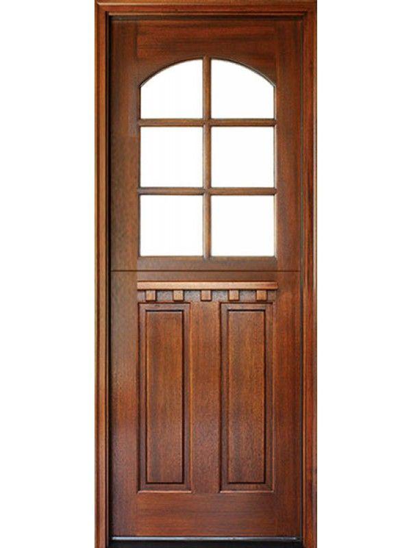 Craftsman Mahogany 2 Panel Vertical 6 Lite Arched Single Door Dutch Door Single Doors Front Entry Doors Wood Exterior Door