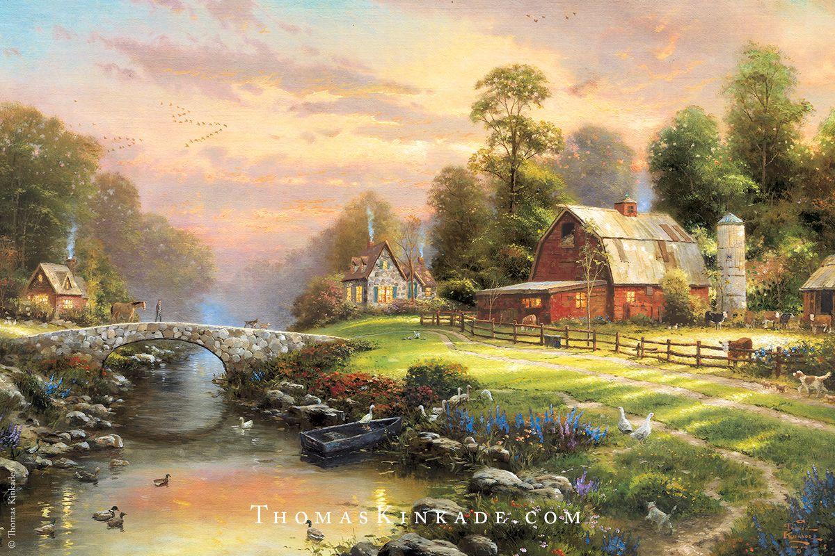 Sunset at Riverbend Farm Farm paintings, Thomas kinkade