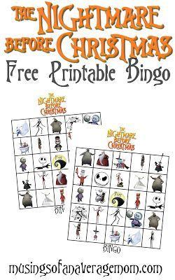 Free Printable Nightmare Before Christmas Bingo