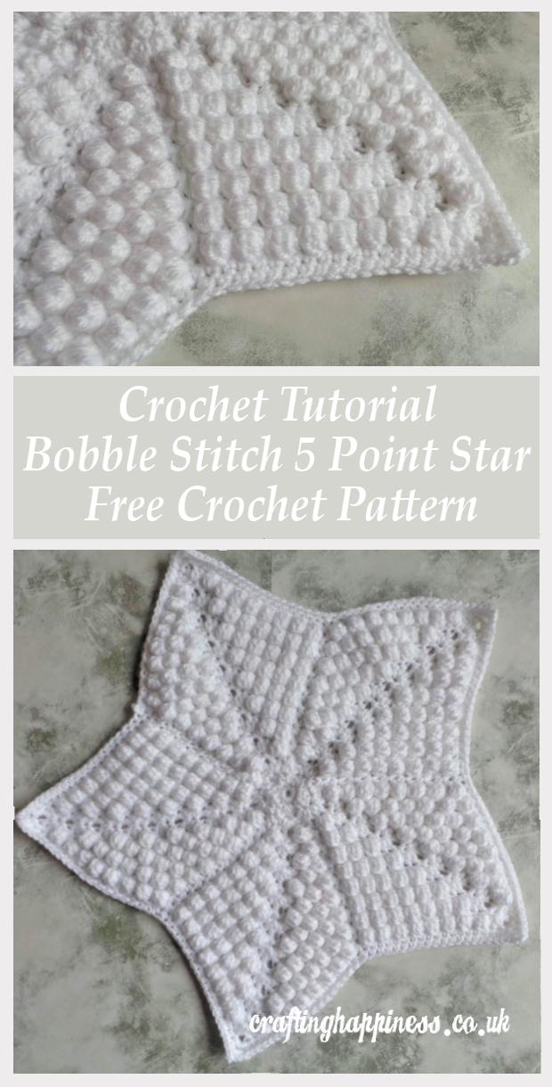 Crochet Tutorial: Bobble Stitch 5 Point Star Free Crochet Pattern in ...