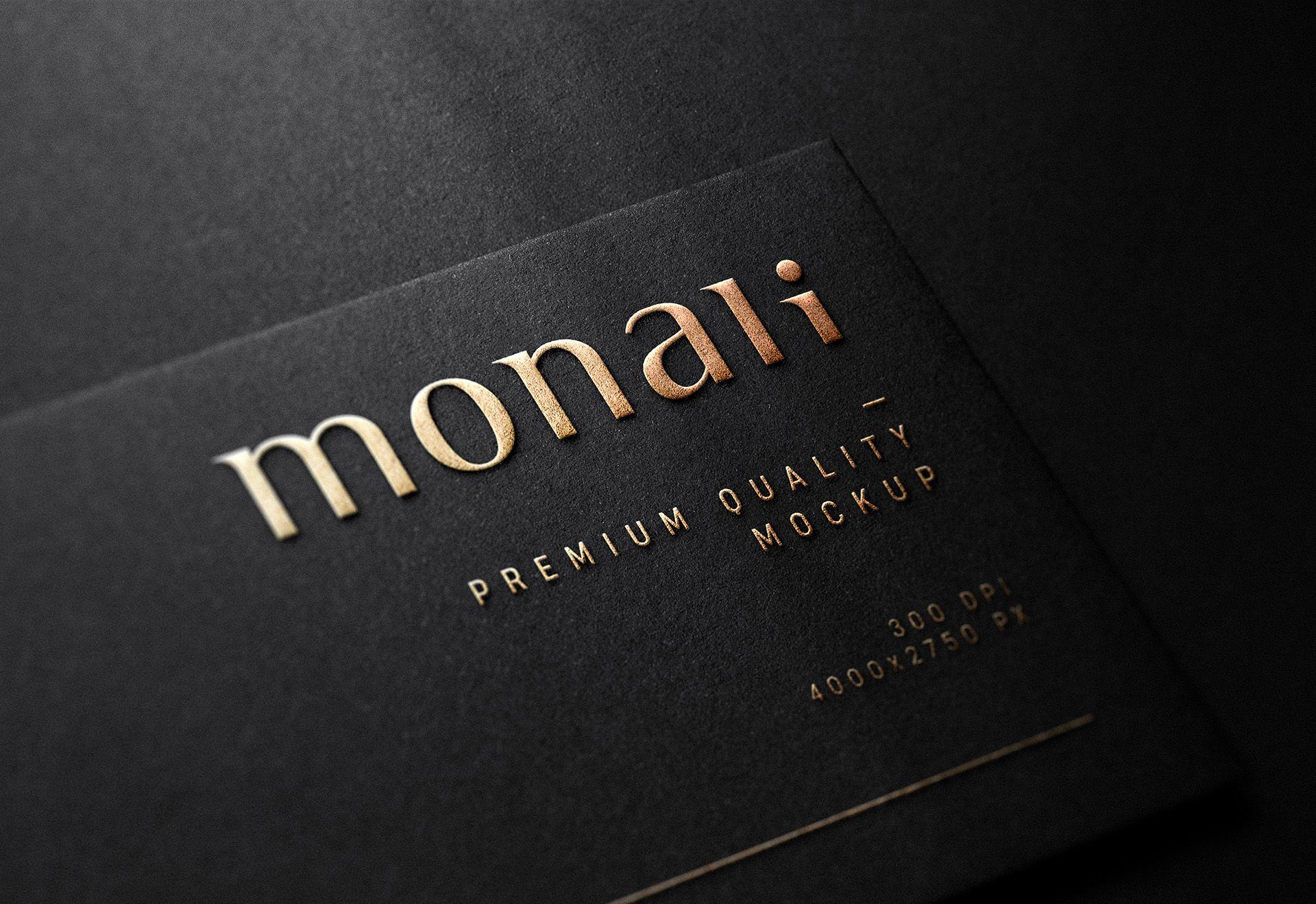 Luxury Embossed Logo Mockup On Black Business Card Embossed Business Cards Logo Mockup Black Business Card