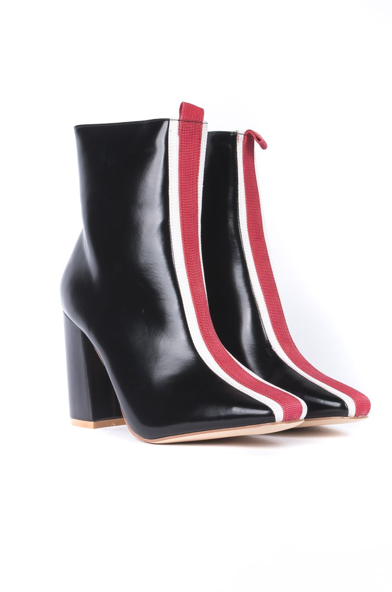 1f2021c23b1 Cape Robbin Striped Chunky High Heel Shiny Boots in Black