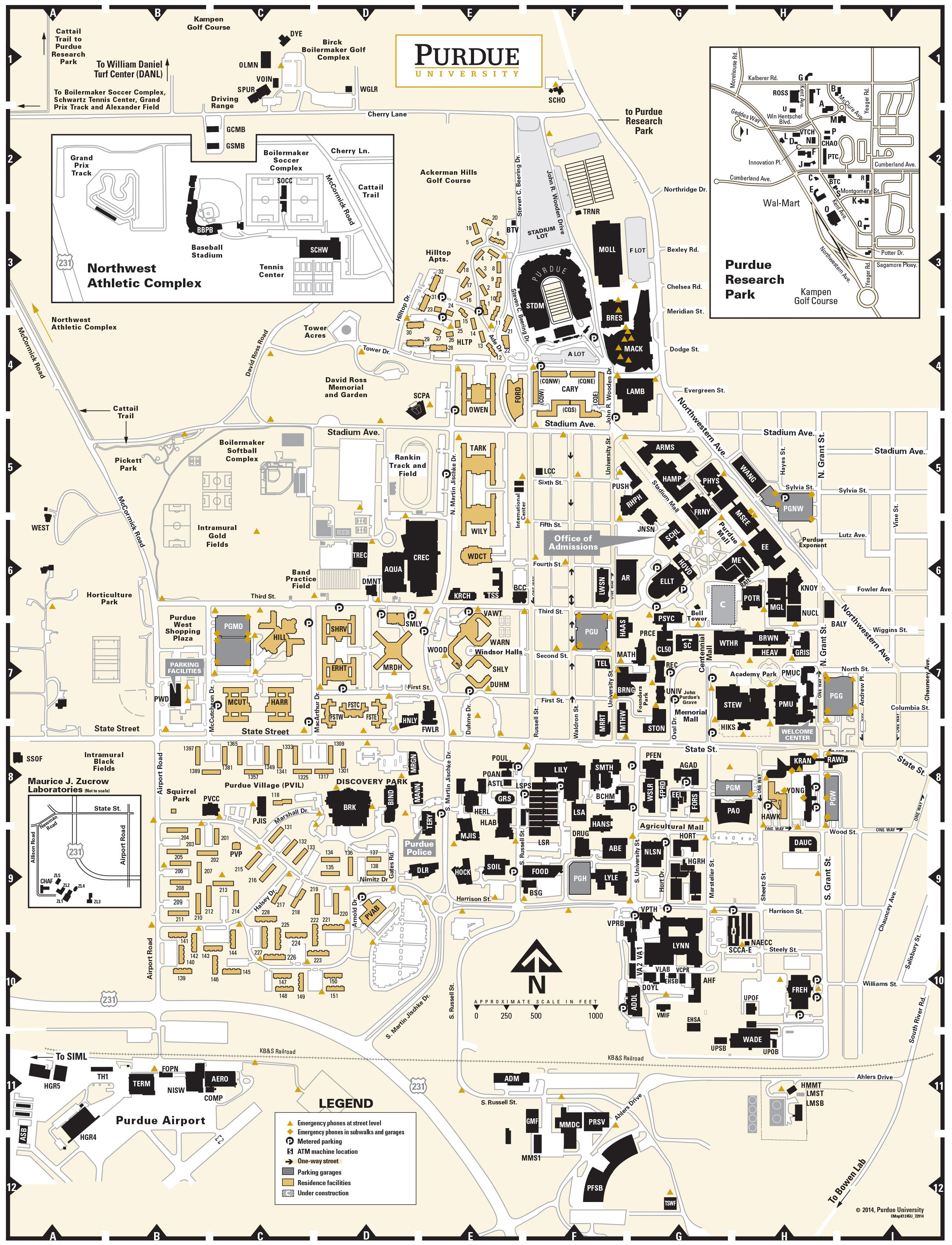 Cos Campus Map : campus, Purdue, University, Campus, Circa, 2014,, Pictorial, Maps,