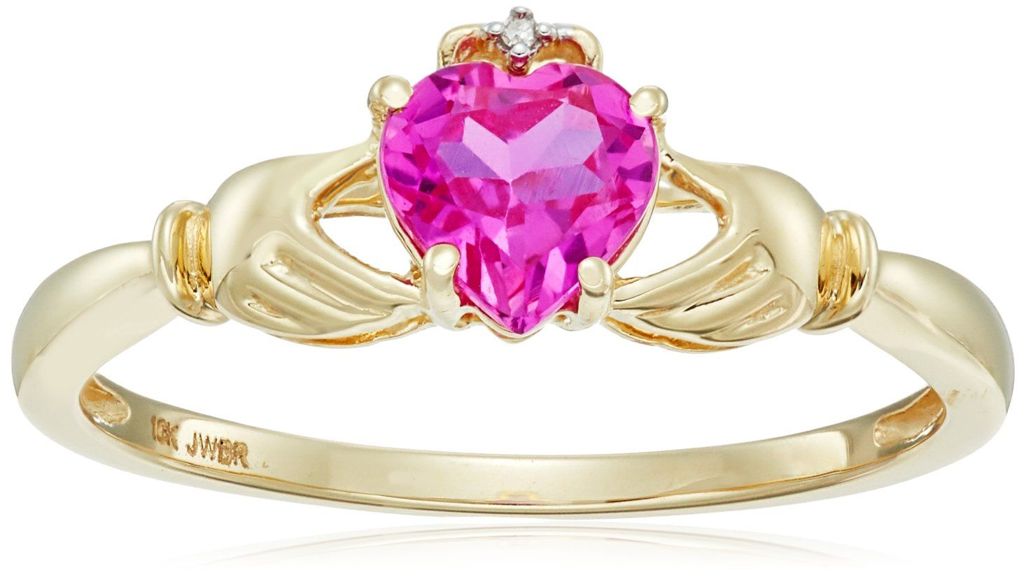 10K Yellow Gold Created Pink Sapphire Heart Shape Claddagh Ring ...