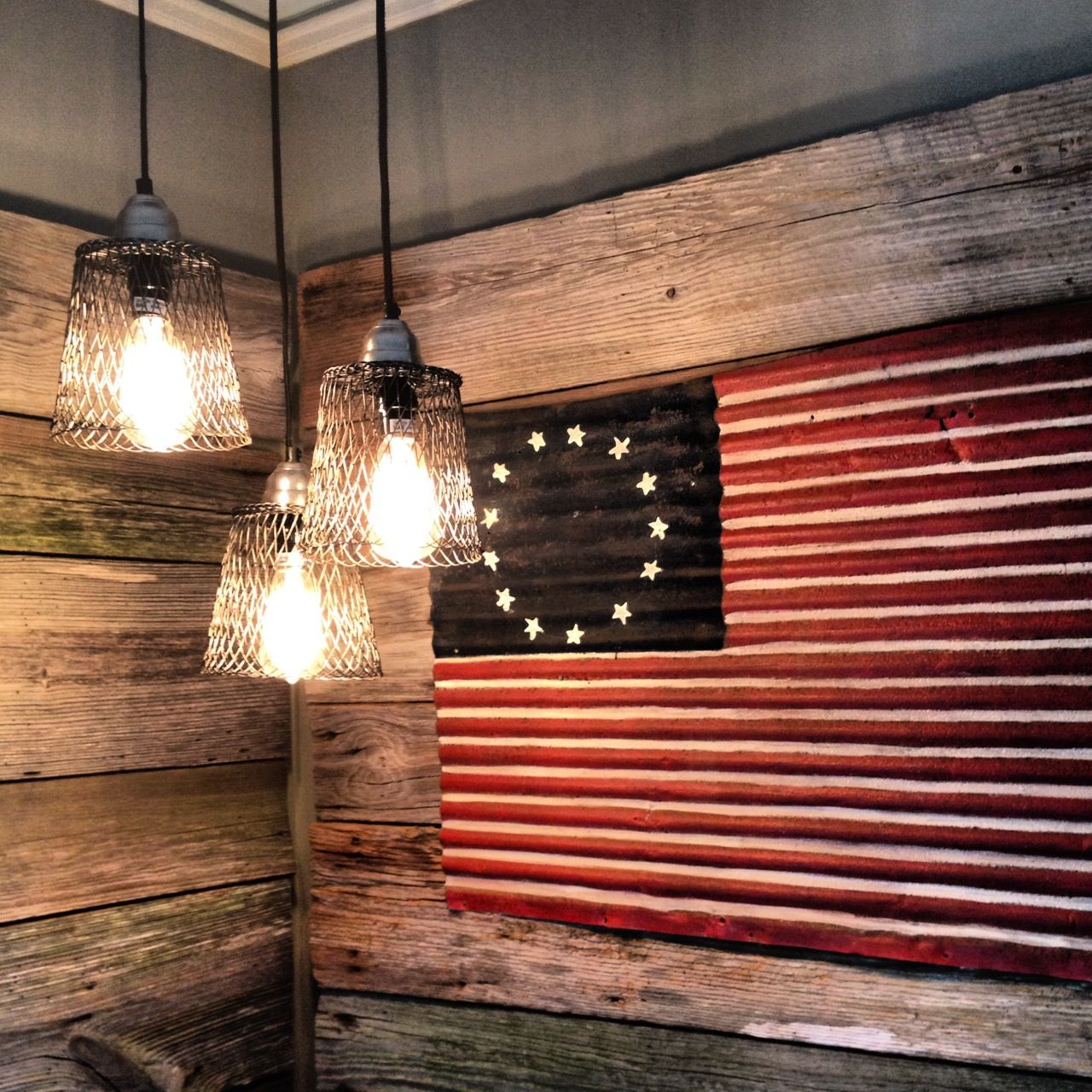 Old Barn Boards W Old Tin Into A Flag Canning Kitchen Barn