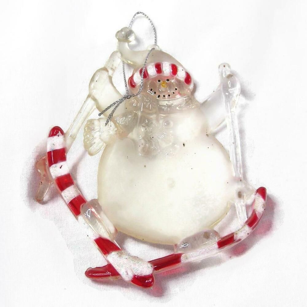 Vintage Skiing Snowman Ornament 5 Inch Long Plus Cord Unbranded Mercury Glass Christmas Ornaments Pink Christmas Ornaments Glass Christmas Tree Ornaments