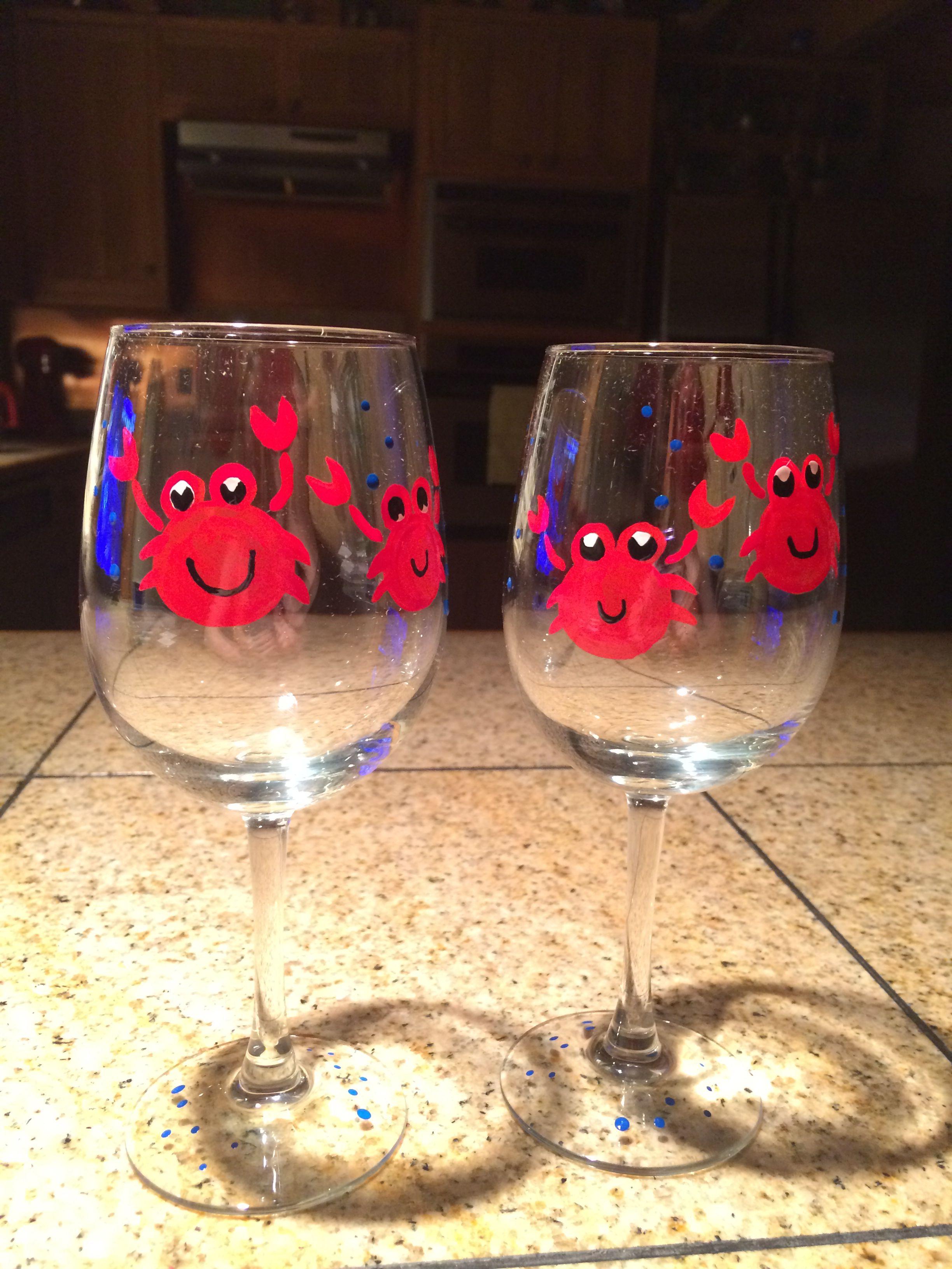 More painted wine glasses  Testors enamel paint from Hobby Lobby