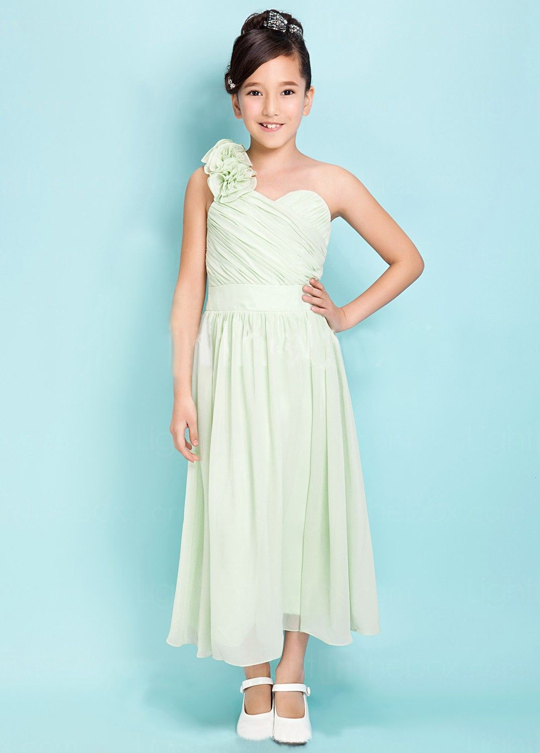 A-line One Shoulder Tea-length Satin Chiffon Junior Bridesmaid Dress ...
