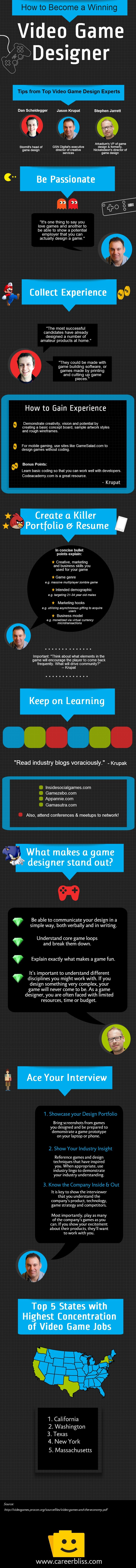 How To Become A Winning Video Game Designer Infographic Game Design Video Game Design Video Game Jobs