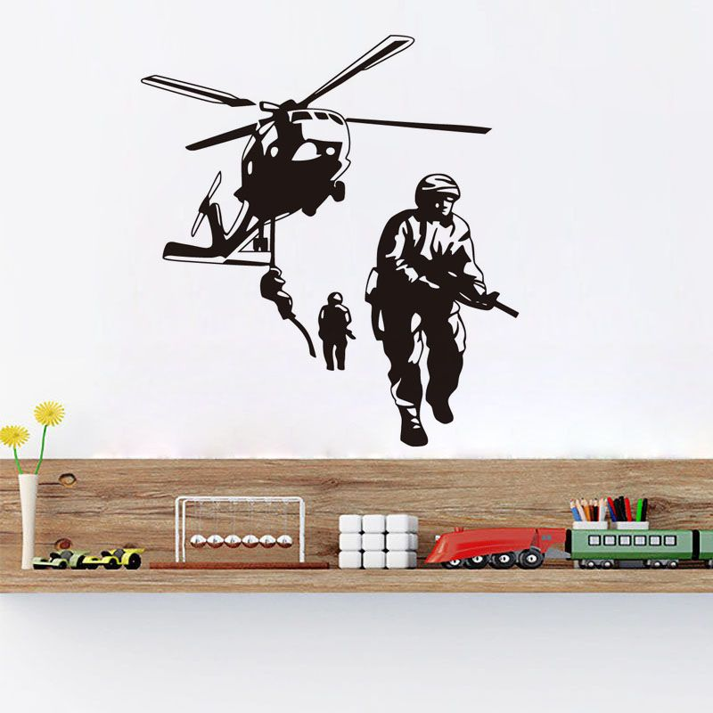 DCTOP New Arrival Military Helicopter Wall Decals PVC Stickers Self ...