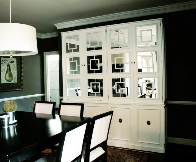 Add Your Own Small Square Mirrors To An Existing Cabinet Create A New Look Dining Room