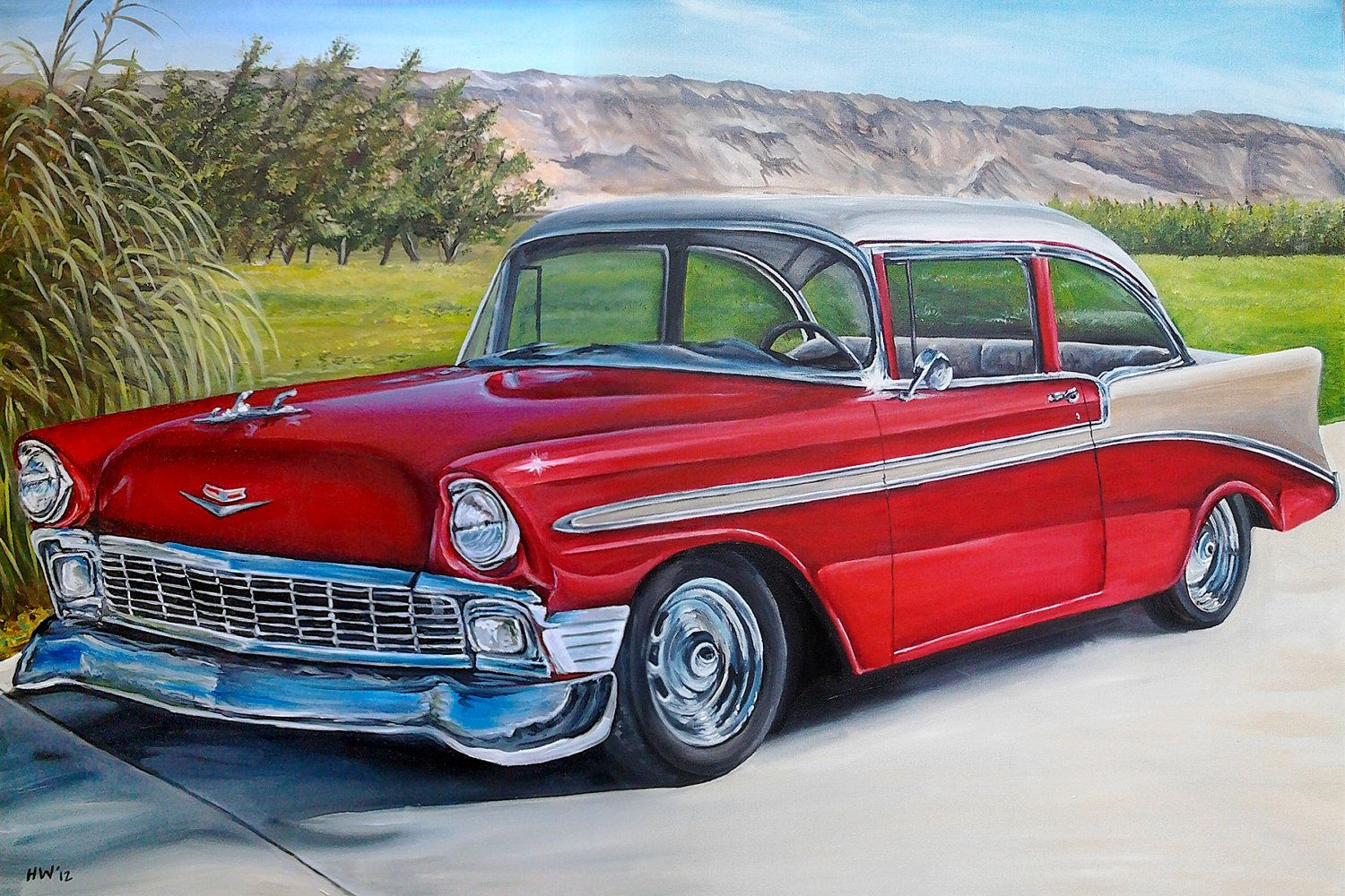 Vintage car custom classic car original oil painting old for Car painting school