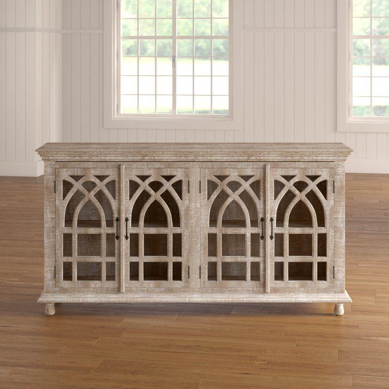 Best Leola Mango Wood Cathedral Design Tall 4 Door Accent 400 x 300
