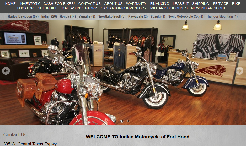 http://www.indiantx/ welcome to indian motorcycle of fort hood
