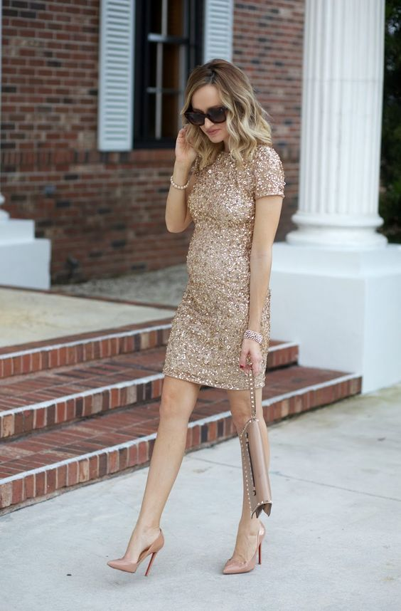 8545f638f05d7 sheath gold sequin dress, nude heels are amazing for celebrating New Year