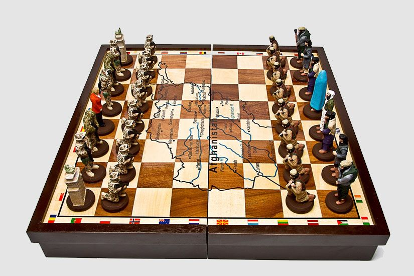 This one I think is really cool. I would like to own this one! <3 <3 <3 It is a German chess set aka Terror Chess.. <3