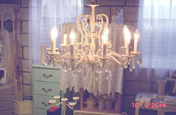Shabby chic chandelier 10 light vintage shabby elegance w crystals shabby chic chandelier 10 light vintage shabby elegance w crystals via etsy aloadofball Gallery