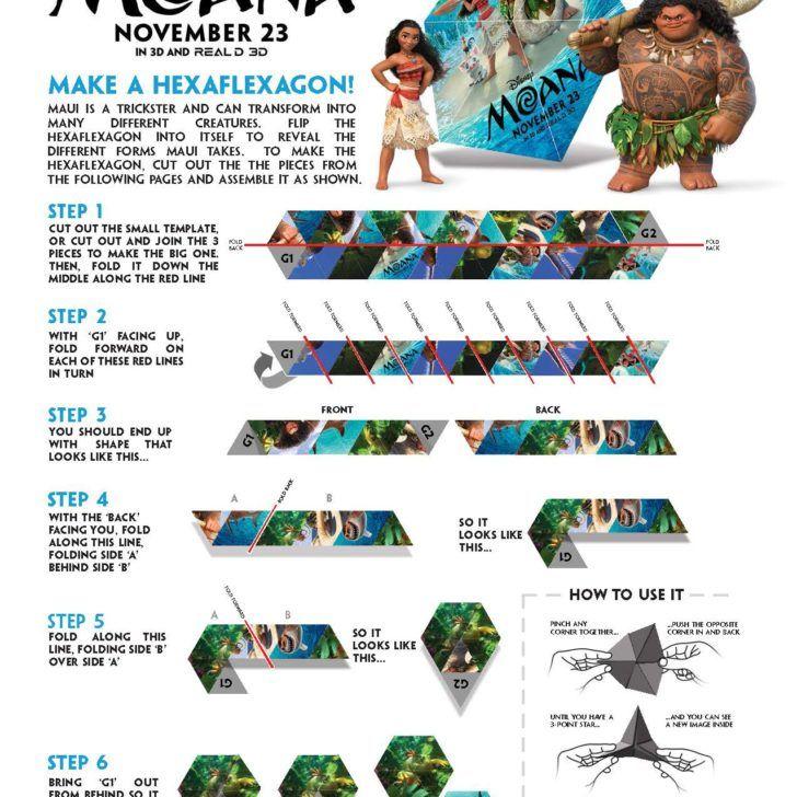 FREE Moana Hexaflexagon Template | paper crafts | Pinterest