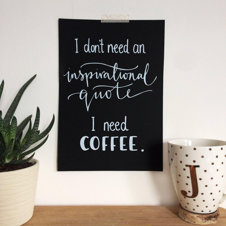Coffee Addict Art Print. Coffee Lovers Gift. Monochrome