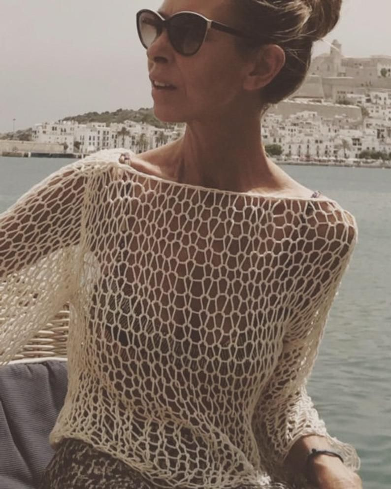 Ivory white slouchy cotton crop top beach sweater beachwear