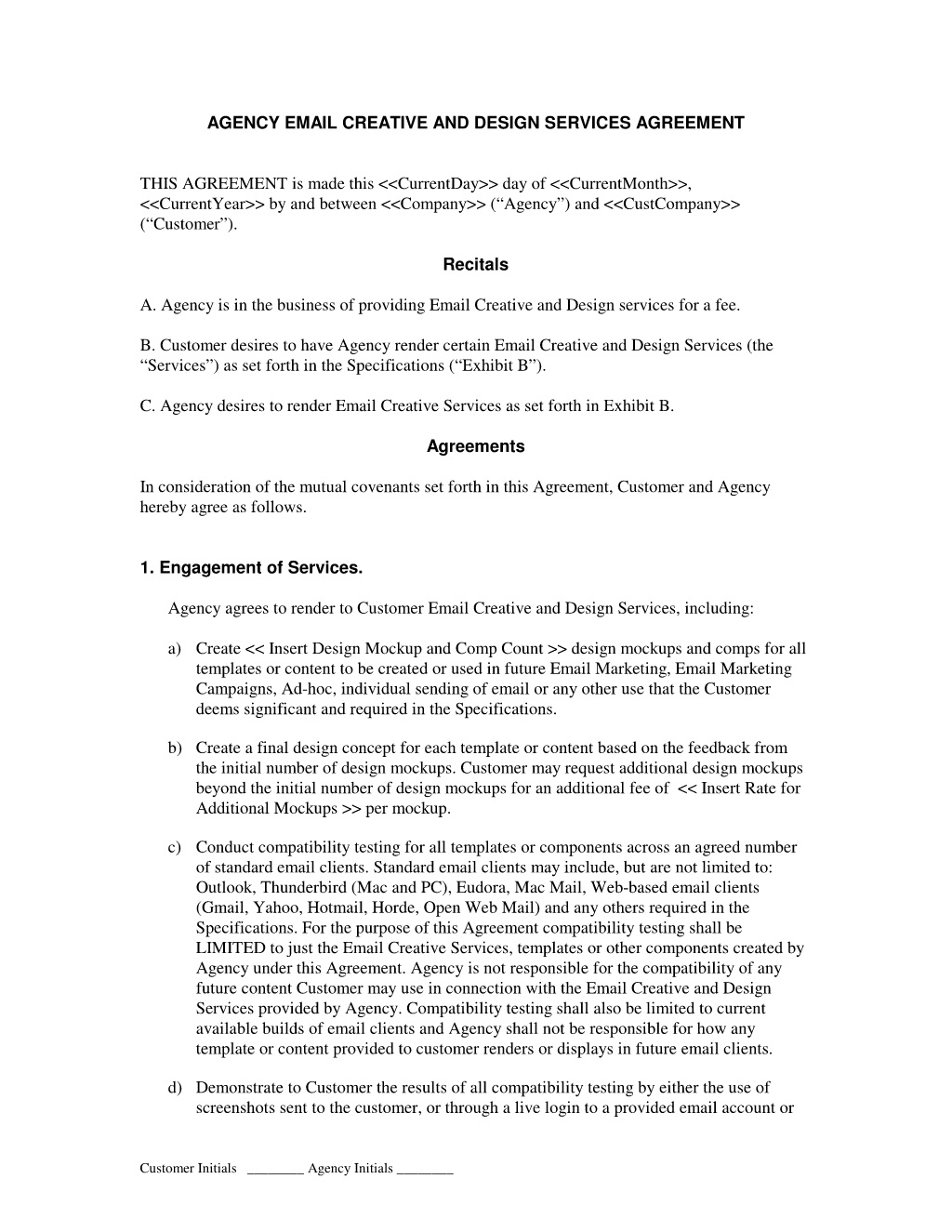 Email Marketing Creative by Agency Agreement : Advertising and ...