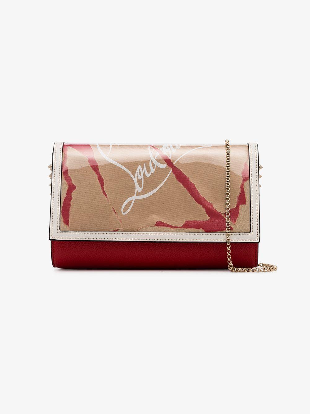 7b7ea6f283 CHRISTIAN LOUBOUTIN CHRISTIAN LOUBOUTIN BROWN, WHITE AND RED PALOMA STUDDED  LEATHER CLUTCH BAG. #christianlouboutin #bags #shoulder bags #clutch  #metallic ...