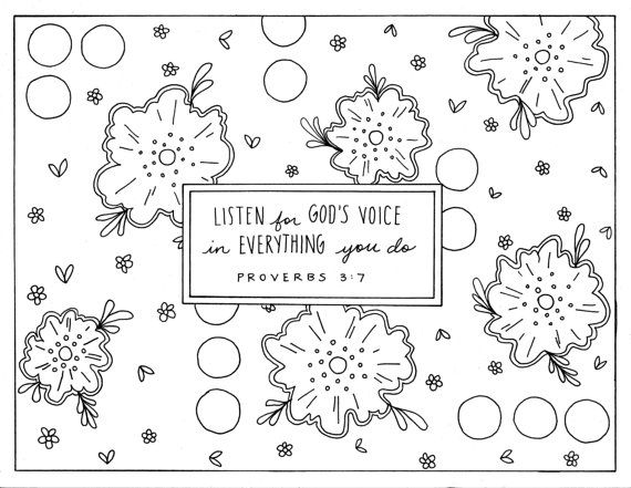 Listen For God S Voice Coloring Page Proverbs 3 7 Etsy Printable Coloring Pages Coloring Pages Christian Coloring