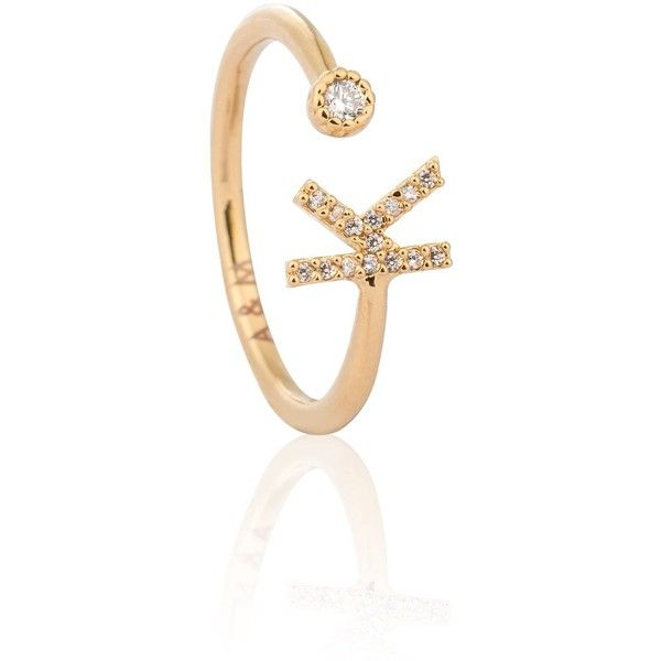 e9a4648bb Astrid & Miyu - Gold Initial K Ring ($52) ❤ liked on Polyvore featuring  jewelry, rings, initial jewelry, stackable rings, letter rings, gold  jewellery and ...