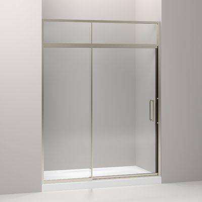 Kohler Lattis 60 X 89 5 Pivot Shower Door With Sliding Steam Transom With Cleancoat Technology Finish Anodized Brushed Nickel Shower Doors Contemporary Shower Doors Frameless Sliding Shower Doors