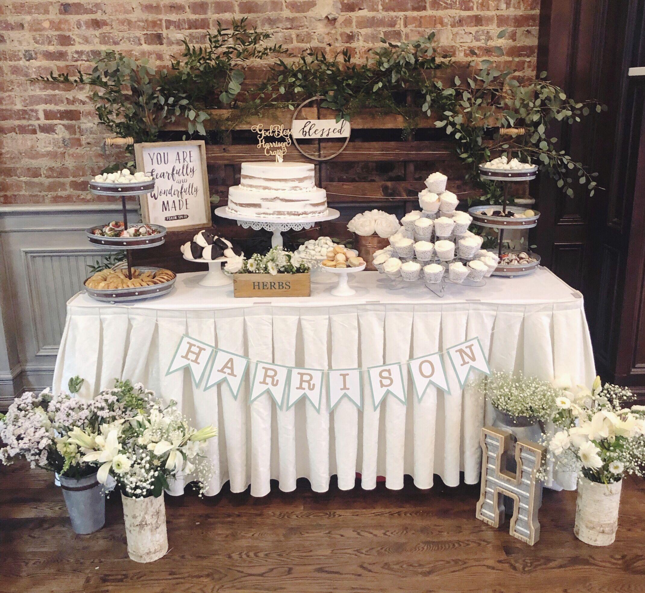 Dessert Table Baptism Christening Baby Shower Wedding Rustic