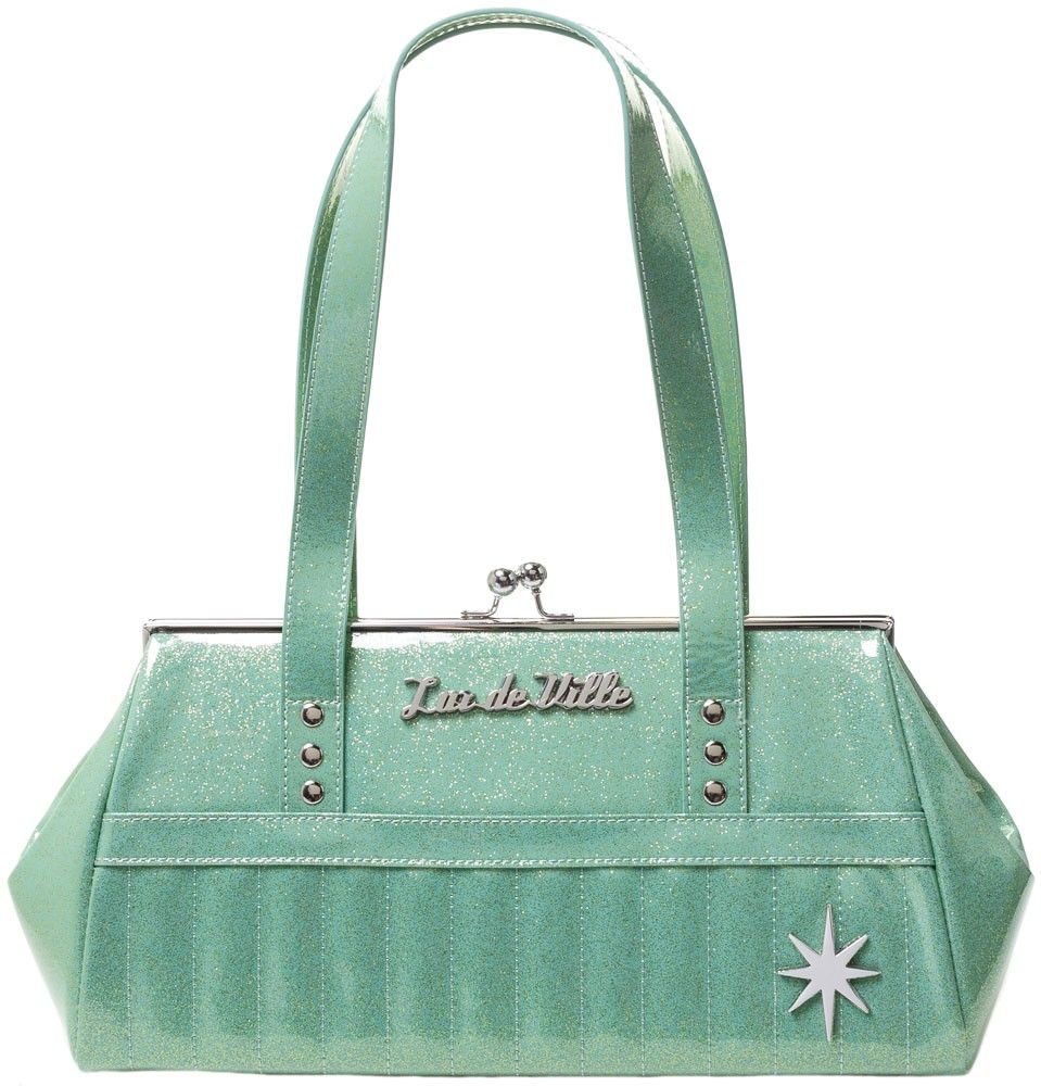 3b1a410f7b LUX DE VILLE STARLITE KISS LOCK PURSE BABY GREEN SPARKLE $88.00 #luxdeville  #pinup #retro #purse #handbag #rockabilly #sparkle #green