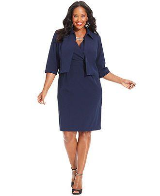 Le Bos Plus Size Dress and Jacket, Sleeveless Hardware Sheath Web ID ...