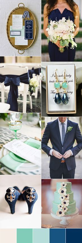 Fresh Mint , Navy Blue and Grey Wedding Ideas - Deer Pearl Flowers
