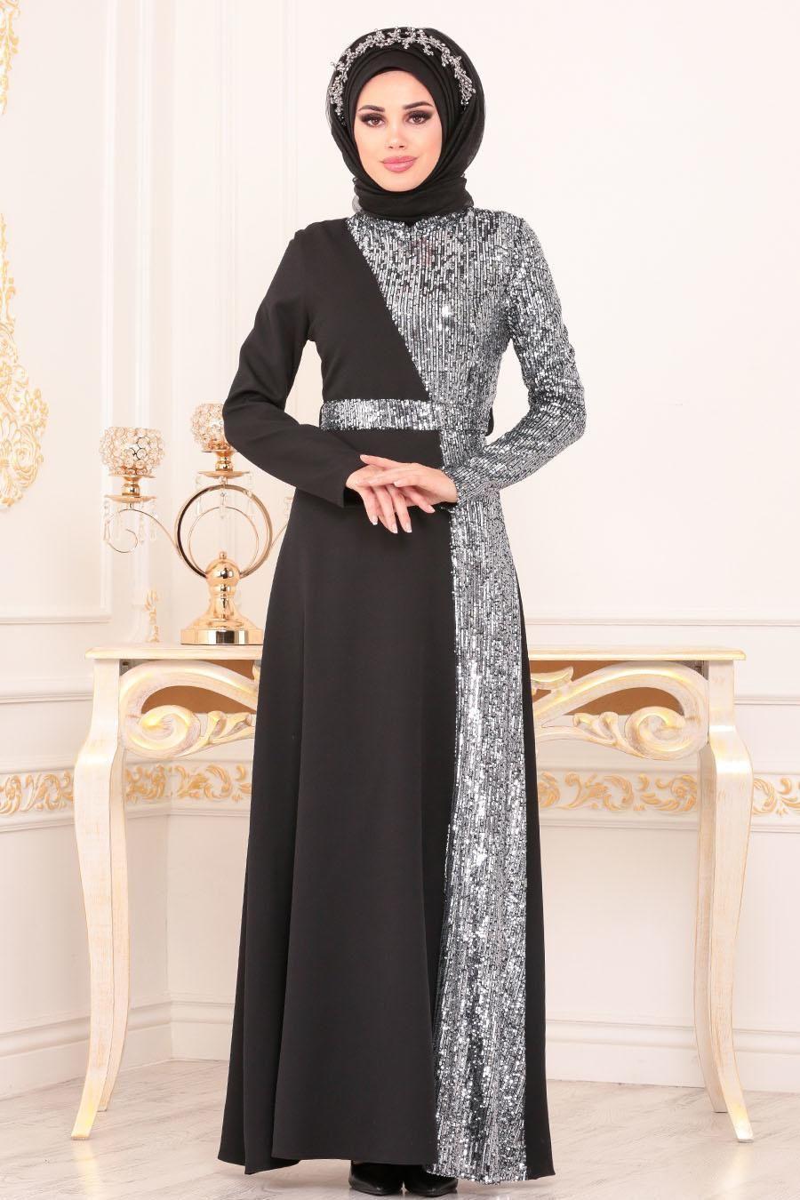 Tesetturlu Abiye Elbise Pul Payetli Gri Tesettur Abiye Elbise 86110gr Elbise Moda Stilleri Elbiseler