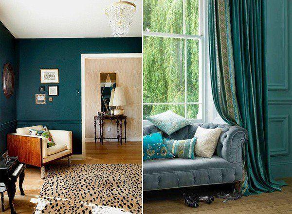 teal interior design living room decor ideas teal wall color teral ...