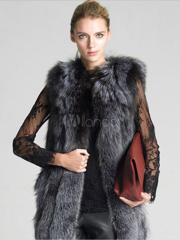 Genuine Rabbit Fur Vest Women/'s Long Sleeveless Fur Raccoon Fur Coat Outwear
