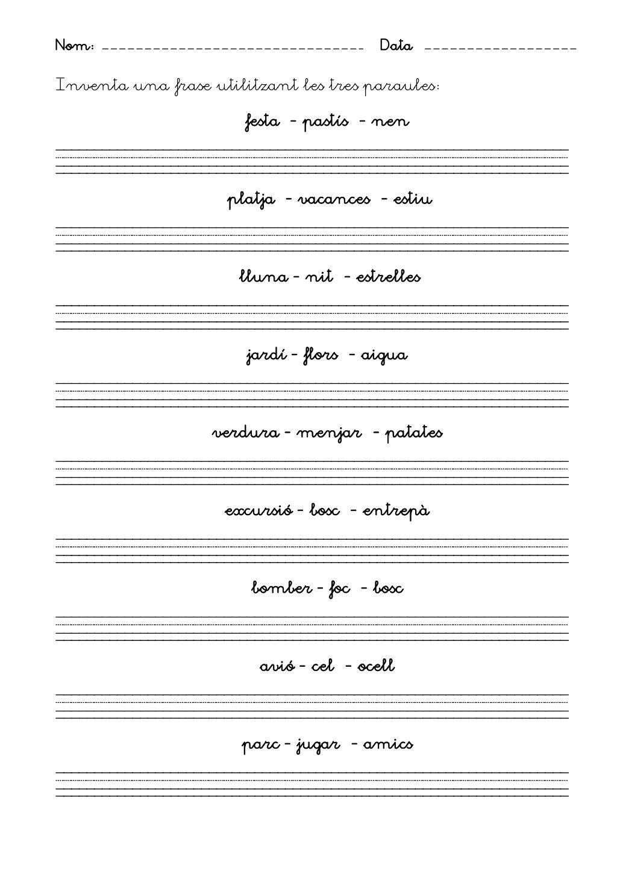 Fitxes Escriptura Inicial By Laia Lila Via Slideshare Iniciales Lectura Y Escritura Lectoescritura