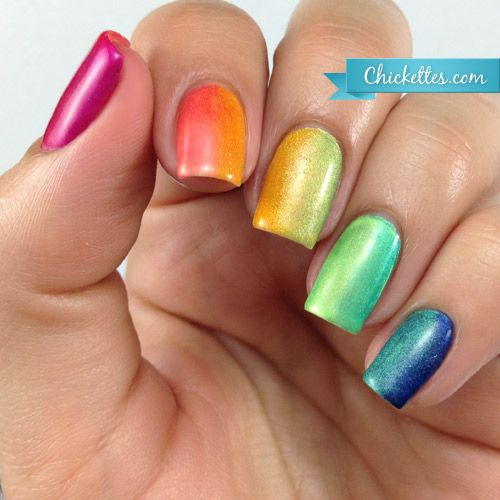 How Does Powder Nail Polish Work: Chickettes.com Rainbow Gradient Nails Using Gel Polish And