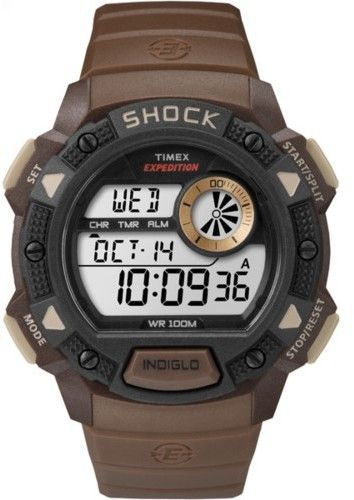 e31e6f338 Timex Men's Expedition Base Shock | Brown Digital Chronograph Watch  TW4B07500