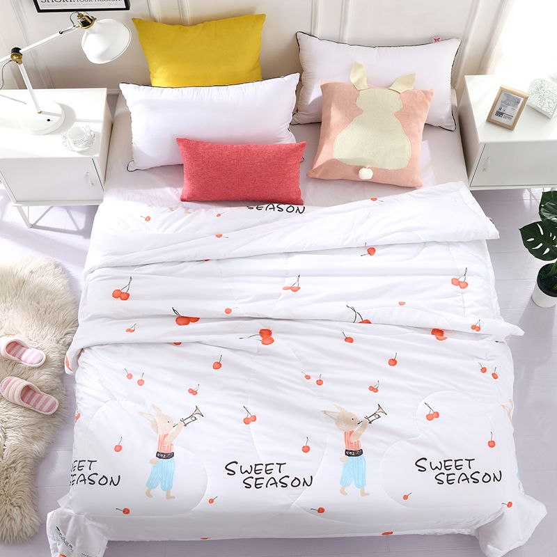 Cherry Print Summer Bed Covers Light Weight Throw Blanket Quilt For Bedding Queen Size Printed Cover