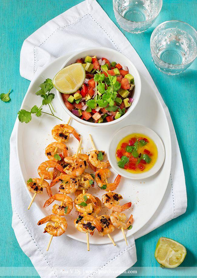 Grilled Prawns & Avocado Pico de Gallo - recipe by @Ana #seafood #prawns #avocado #salsa #grilled