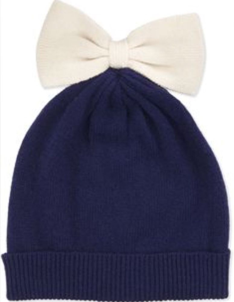 dc4e1aebba67ea kate spade COLORBLOCK BOW BEANIE HAT ONE SIZE RICH NAVY CREAM ALL THE  TRIMMINGS #fashion